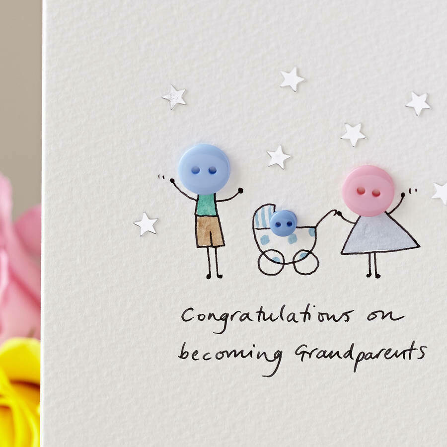 Button Pram New Baby/Parents/Grandparents Personalised Card