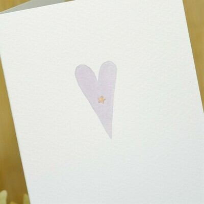 Hand Painted Simple Sparkly Heart Personalised Card