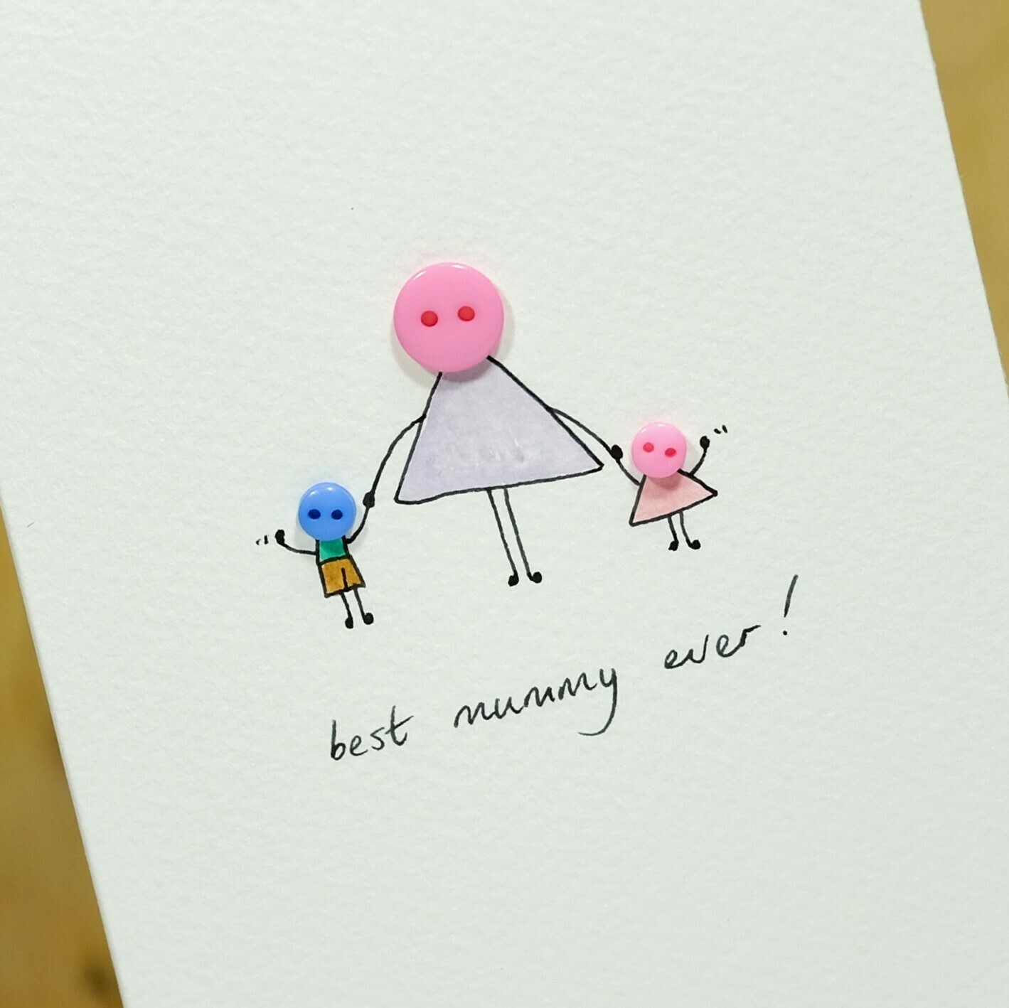 Button Mummy Hand Illustrated Card