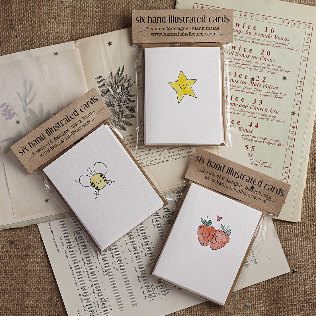 Pack of Six Hand Illustrated cards - choose your own designs