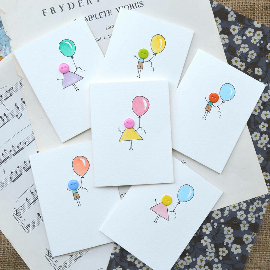 Pack of Six Button People Hand Illustrated cards