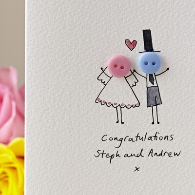 Button Wedding Personalised Card