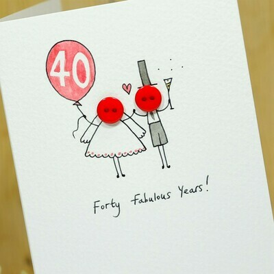 Button Anniversary Personalised Card