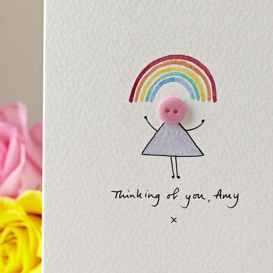 Button Rainbow Personalised Card