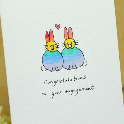 Rainbow Lovebunnies Personalised Card