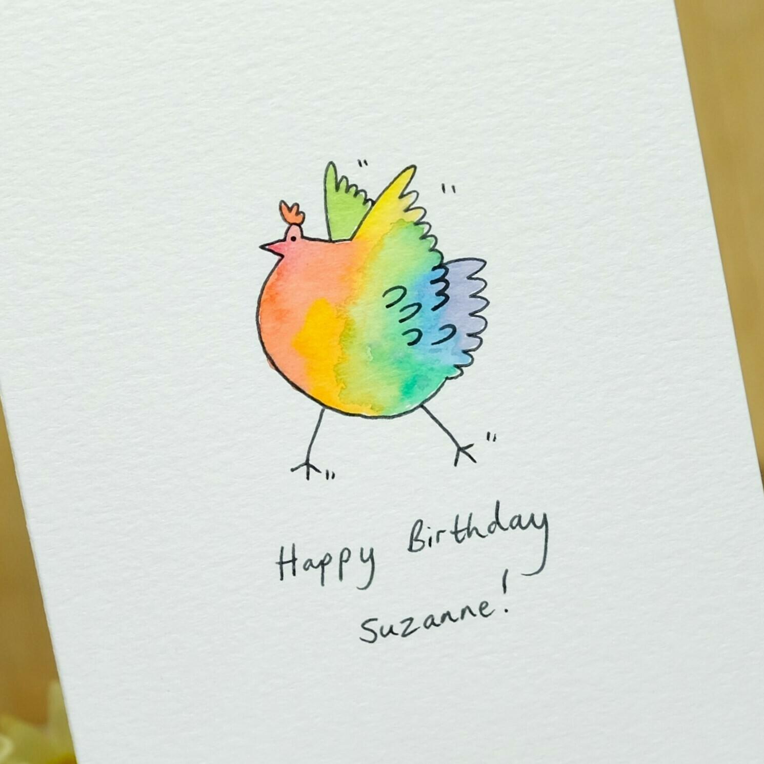 Rainbow Dancing Chicken Personalised Card