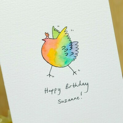 Rainbow Dancing Chicken Personalised Card