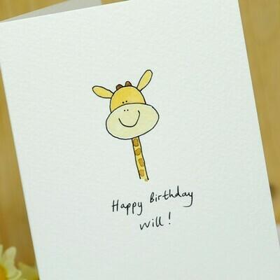 Smiley Giraffe Personalised Card