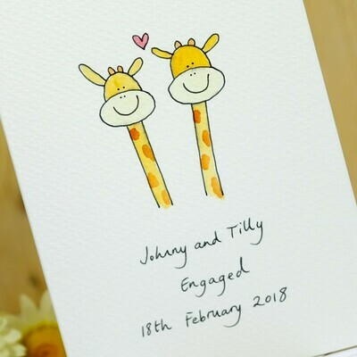Giraffes in Love Personalised Card