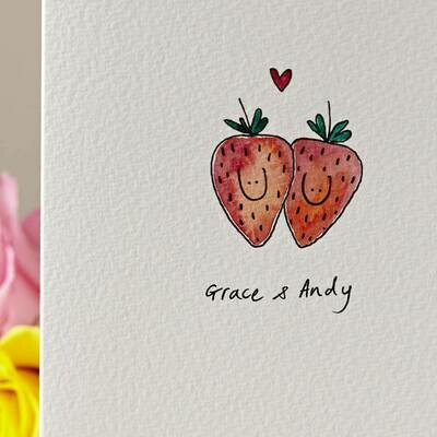 Strawberries in Love Personalised Card