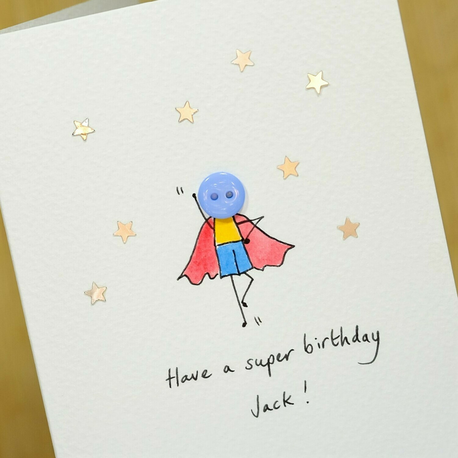 Button Superhero Personalised Card