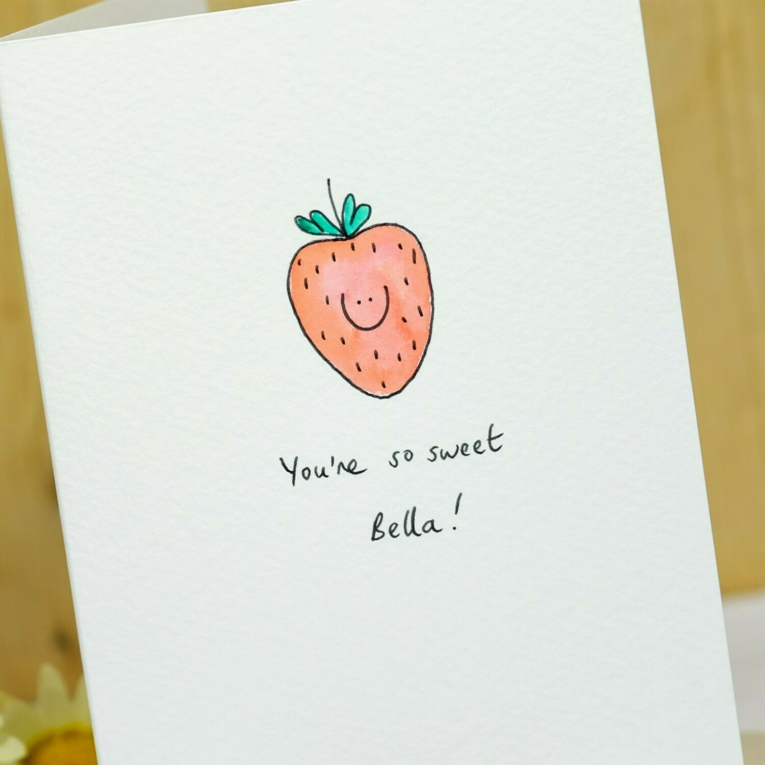 Smiley Strawberry Personalised Card