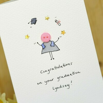 Button Graduation Personalised Card