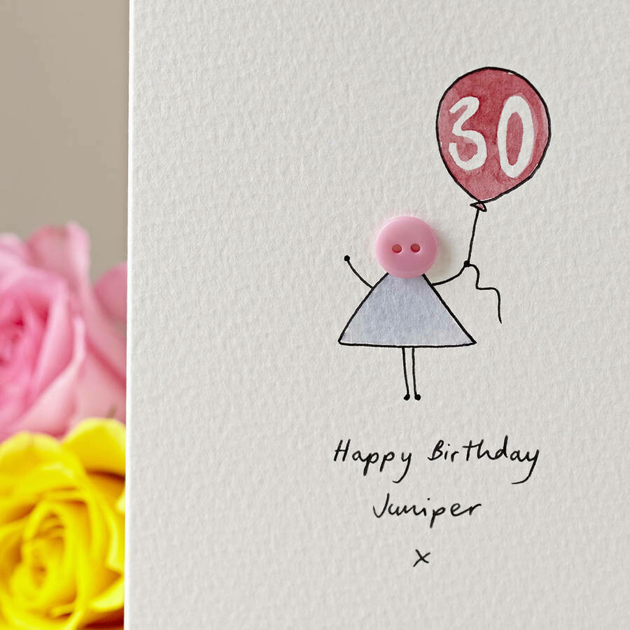 Button Balloon Personalised Birthday Card