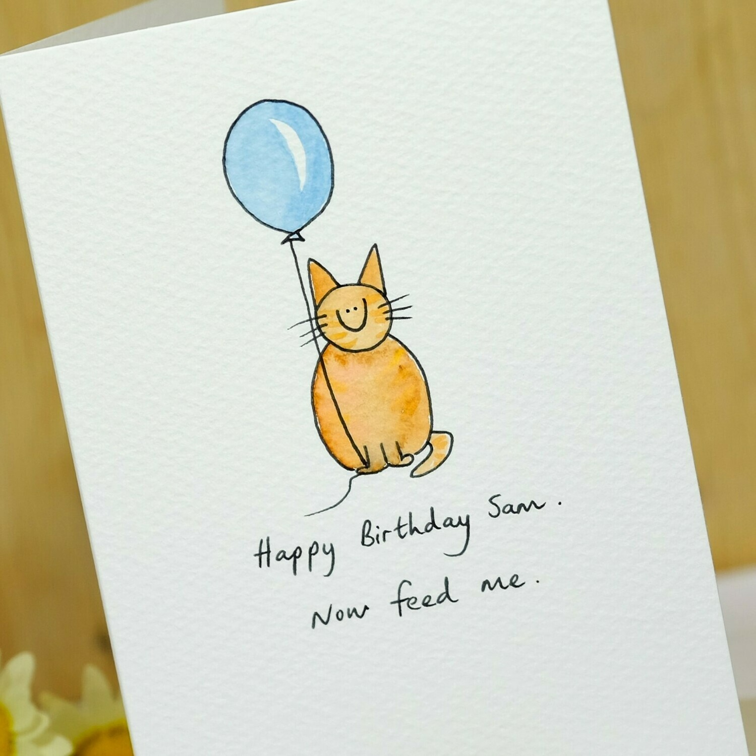 Cat with Balloon Personalised Card