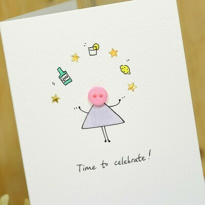 Button Gin and Tonic Personalised Card