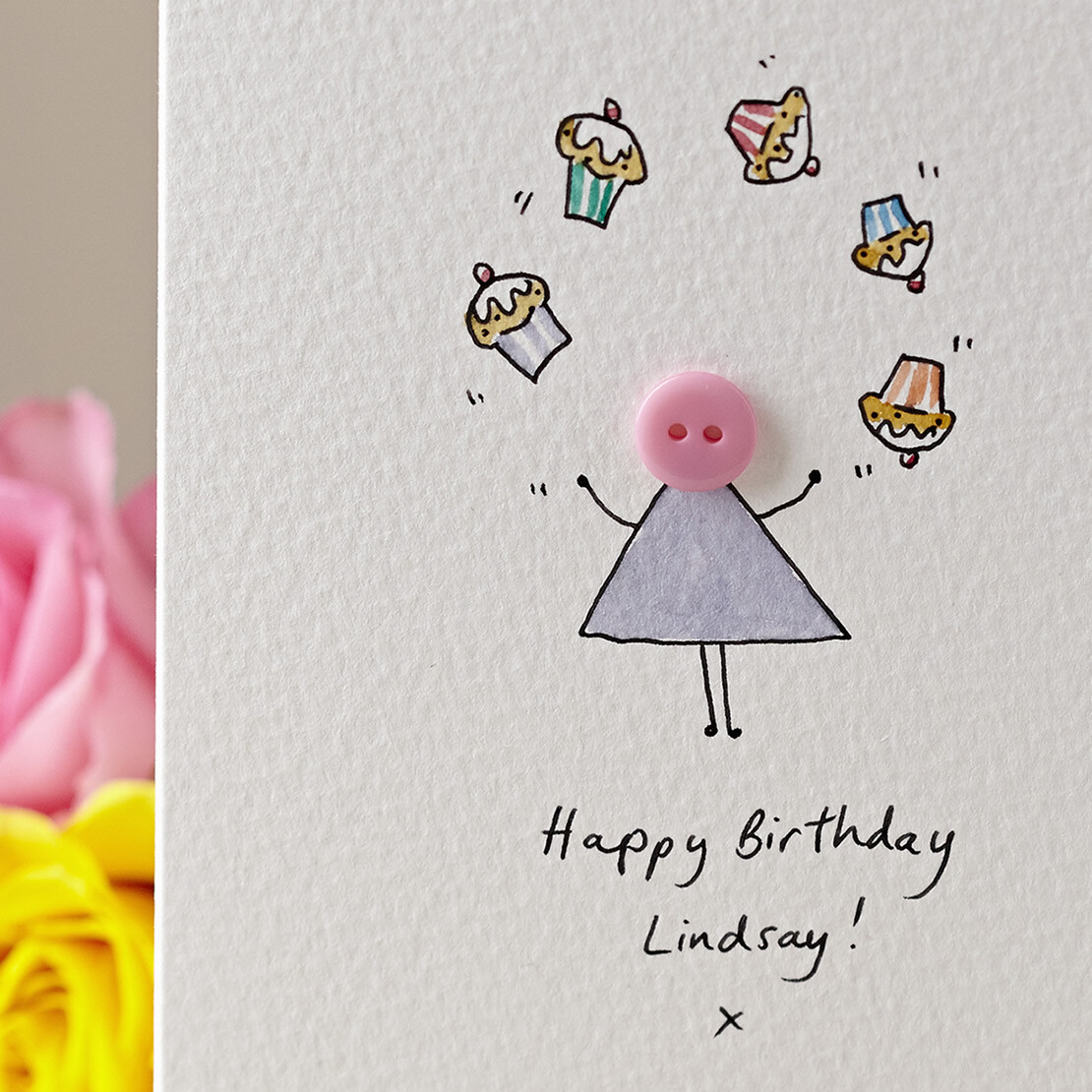 Button with Cupcakes Personalised Card