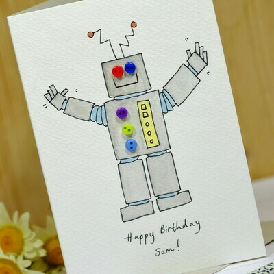 Button Robot Personalised Card