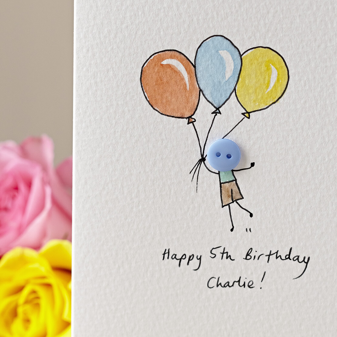 Floating Button Personalised Birthday Card