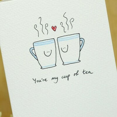 Coffee/Tea Cups in Love Personalised Card