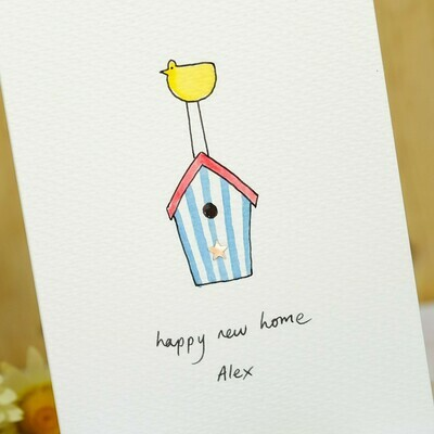 Sparkly Birdhouse Personalised New Home Card