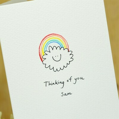 Smiley Rainbow Cloud Personalised Card