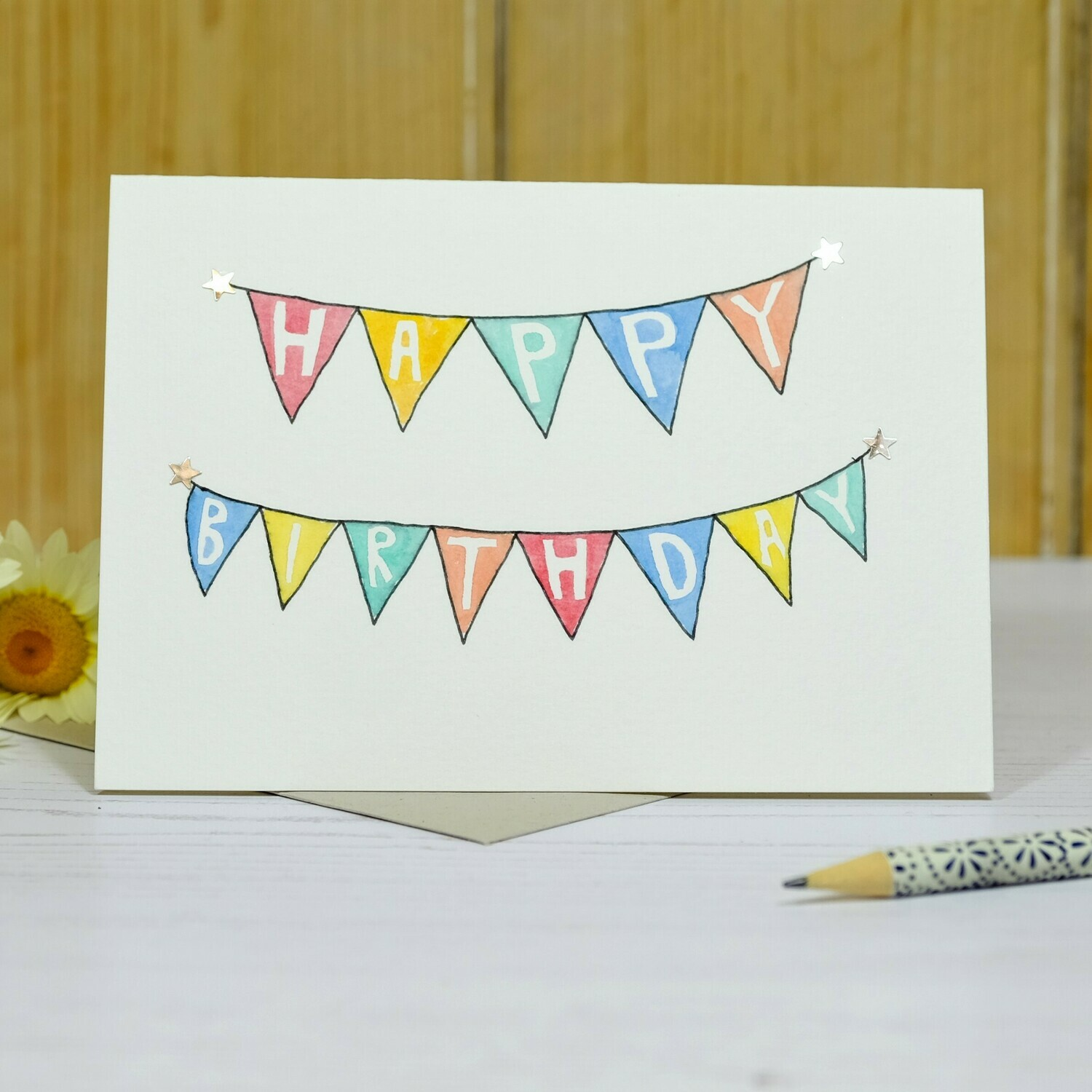 Sparkly Bunting Personalised Card