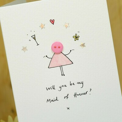 Button Maid of Honour Personalised Card