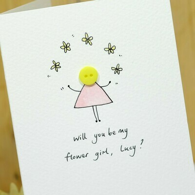 Button Flower Girl Personalised Card