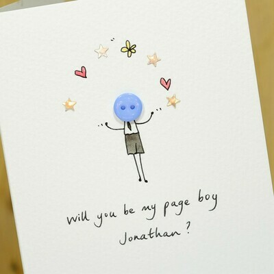 Button Page Boy Personalised Card