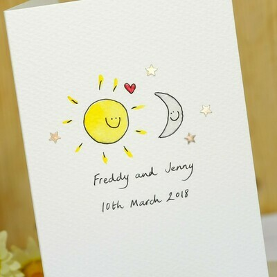 Sun and Moon in Love Personalised Card