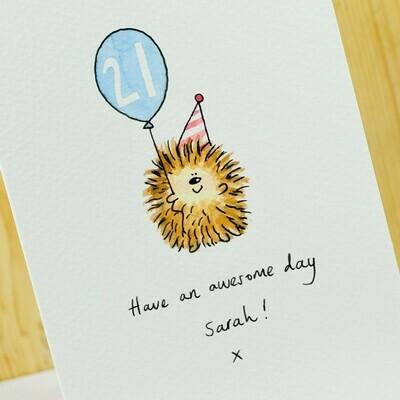 Birthday Hedgehog Personalised Card