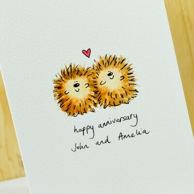Hedgehogs in Love Personalised Card