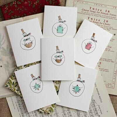 Pack of Six Snowmen with Gifts Hand Illustrated cards