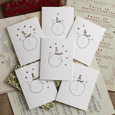 Pack of Six Snowmen with Stars Hand Illustrated cards