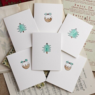 Pack of Six Christmas Tree and Pudding Hand Illustrated cards