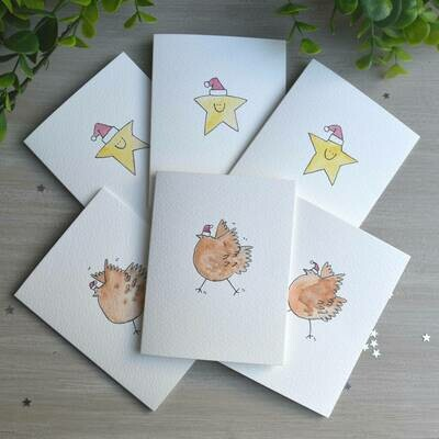 Pack of Six Chicken and Star Hand Illustrated cards