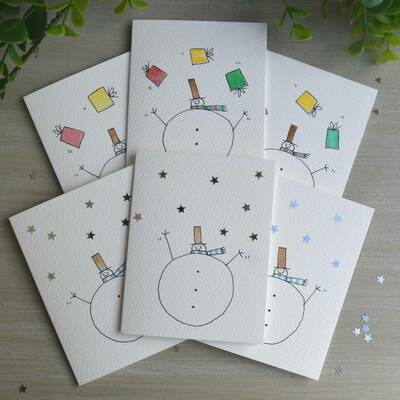 Pack of Six Juggling Snowmen Hand Illustrated cards