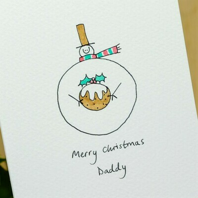 Snowman with Gift Personalised Christmas Card