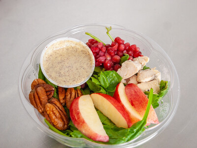 Pomegranate spinach salad with Honey Poppyseed dressing