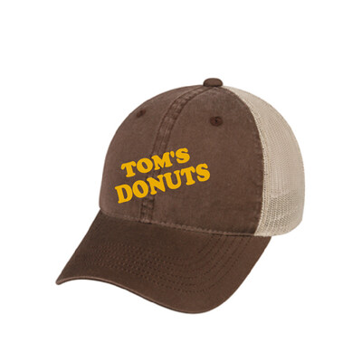 Tom's Donuts Hat - Brown with Yellow Lettering