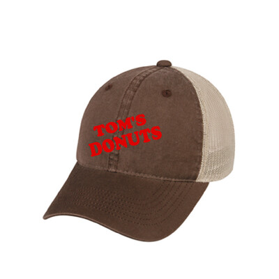 Tom's Donuts Hat - Brown with Red Lettering