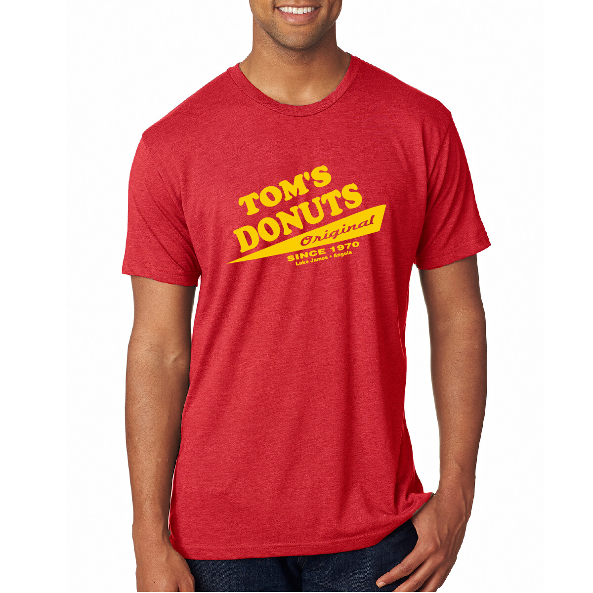 Unisex Tom's Donuts Original  T-Shirt - Red/Yellow