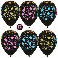 Гелиевые шары с рисунком «Яркие звёзды на чёрном»