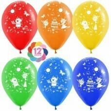 Гелиевые шары с рисунком «День рождения с котиками»