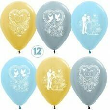 Гелиевые шары с рисунком «Ассорти на свадьбу»