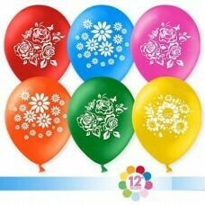 Гелиевые шары с рисунком «Ассорти с цветами»