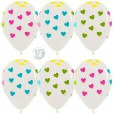 Гелиевые шары с рисунком «Ассорти сердец на белом»