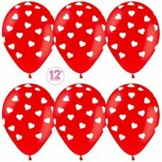 Гелиевые шары с рисунком «Белые сердечки на красном»