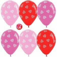 Гелиевые шары с рисунком «Ассорти с полосатыми сердцами»